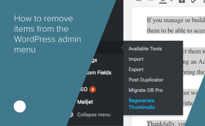 How to remove items from the WordPress Admin menu