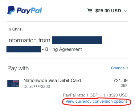 PayPal showing the currency conversion options, allowing you to switch to paying in the original currency