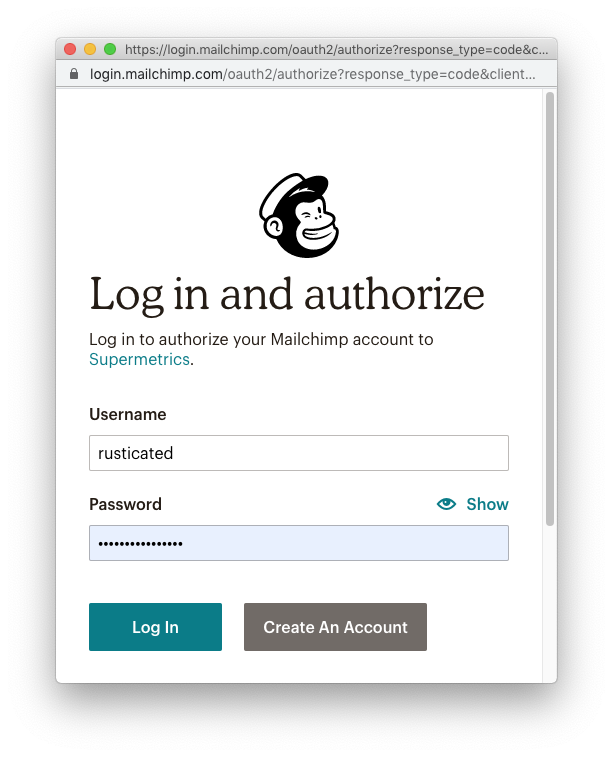 Authorise Supermetrics to access your Mailchimp account, so that it can pull the data into Google Data Studio