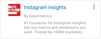 Instagram Insights by Supermetrics on the Google Data Studio search screen